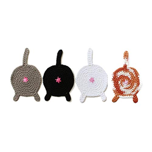 Handmade crochet cat butt coasters by Geekirumi! - Cotton yarn drink mats - Custom color (set of 4) ()