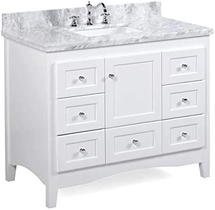 Amazon Com Abbey 42 Inch Bathroom Vanity Carrara White Includes White Cabinet With Authentic Italian Carrara Marble Countertop And White Ceramic Sink Home Improvement
