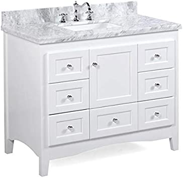 Amazon Com Abbey 42 Inch Bathroom Vanity Carrara White