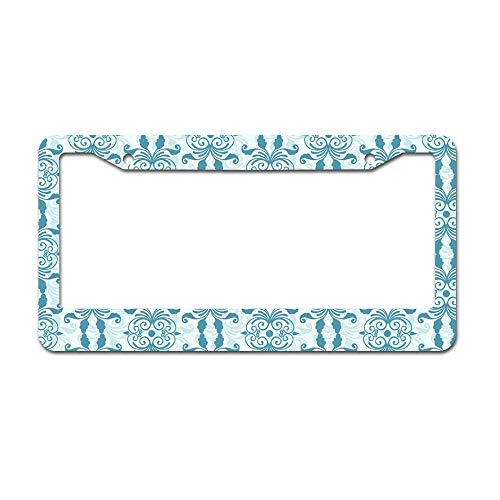 (DKISEE Western Flourish Pattern License Plate Frame Aluminum Car Licence Plate Covers with 2 Holes 12