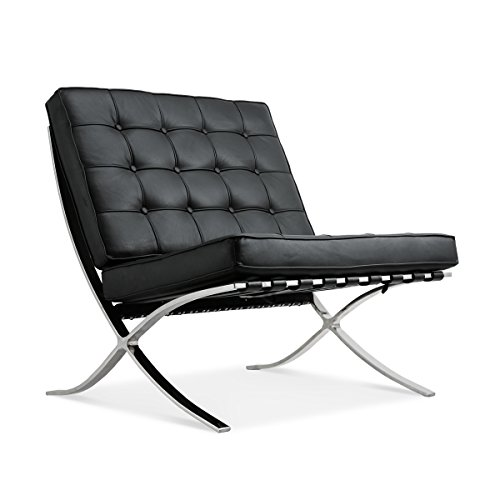 ModStone - Barcelona Pavilion Lounge Reception Love Seat Chair Black Top Grain Leather by Mies Ven Der Rohe