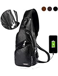 Men's Leather Sling Bag,Chest Shoulder Backpack, Water waterproof Crossbody Bag with USB Charging Port for Travel, Hiking,Cycling (black)