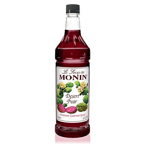 Monin - Desert Pear Syrup, Bold Flavor of Prickly Pear Cactus, Natural Flavors, Great for Iced Teas, Lemonades, Cocktails, Mocktails, and Sodas, Vegan, Non-GMO, Gluten-Free (1 Liter)
