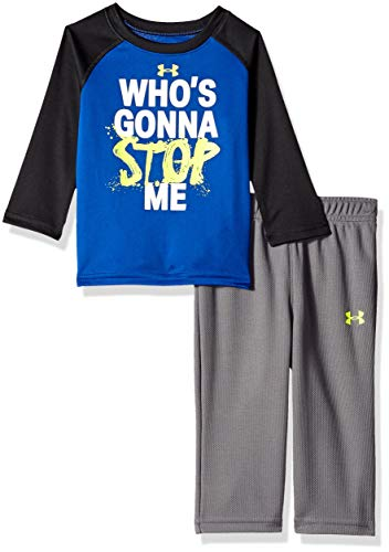 - Under Armour Boys' Baby Two Piece Graphic Tee and Pant Set, Royal Who's Gonna Stop me, 6-9 Months
