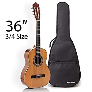 Classical Guitar with Soft Nylon Strings by Hola! Music, Junior 3/4 Size 36 Inch Model HG-36GLS, Natural Gloss Finish – FREE Padded Gig Bag Included 41N7DYzi5IL