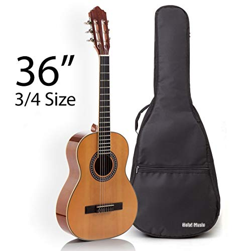 Classical Guitar with Soft Nylon Strings by Hola! Music, Junior 3/4 Size 36 Inch Model HG-36GLS, Natural Gloss Finish – FREE Padded Gig Bag Included