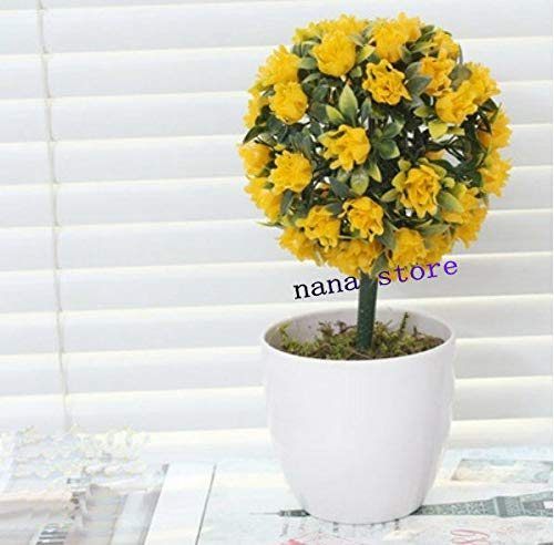 (FidgetKute Artificial Rose Flower Ball Potted Plants Fake Boxwood Ball Topiary House Decor Yellow Rose Ball)