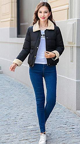 Manga Botón Chaqueta Corto Larga Outwear Delanteros De Mujer Schwarz Bolsillos Colores Fiesta Acolchada Abrigos Solapa Invierno Sólidos Outerwear Targogo tpZBwqZ