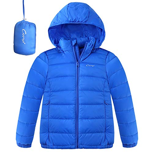 CUNYI Boys Girls Hooded Portable Lightweight Down Jacket Coats, Blue, 5-6 T/ 120