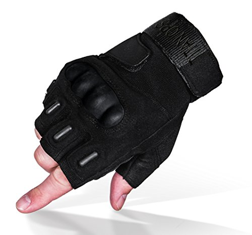 (TitanOPS Fingerless Hard Knuckle Motorcycle Military Tactical Combat Training Army Shooting Outdoor Gloves (Black Fingerless,)