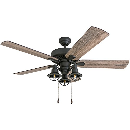 Prominence Home 50756-01 Ennora Farmhouse Ceiling Fan (3 Speed Remote) 52
