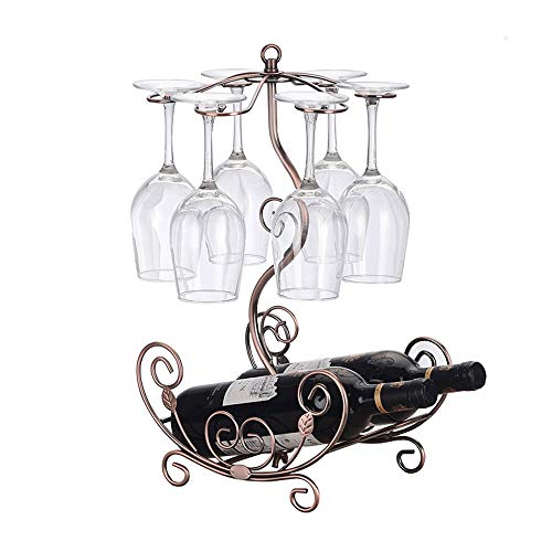(QJGhy Wine Rack Wine Cup Rack Holds 2 Bottles and 6 Cups Wine Racks Free Standing Floor Perfect for Cabinet, Tabletop Countertop Wine Bottle Holder Wine Holder (Color : Bronze))