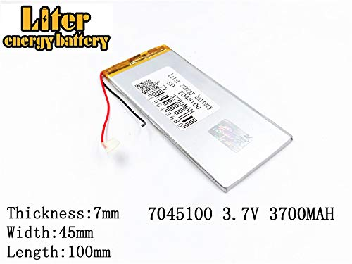 3.7V 3700mAh 7045100 Lithium Polymer Ion Rechargeable Battery Lithium Polymer Li-Po Battery for MP4 GPS MP3 Bluetooth Stereo DIY Gift ()