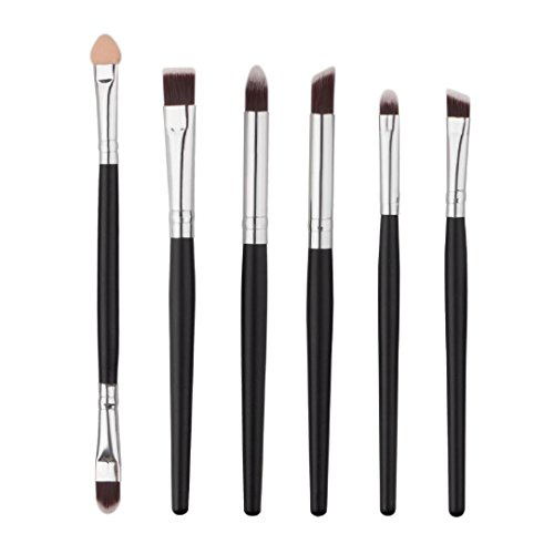 6PCS Oval Toothbrush Makeup Brushes Set with Gift Box (Black) - 9