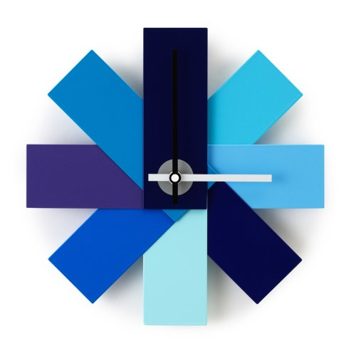"11"" Pinwheel Wall Clock with Bright Blue Panels"
