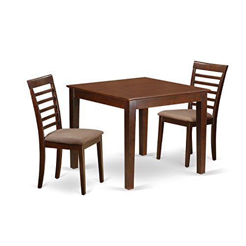 East West Furniture OXML3-MAH-C 3Piece Dinette Table Set with One Oxford Dining Room Table & Two Dining Chairs in Mahogany Finish