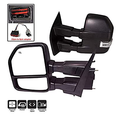 AERDM F150 Towing Mirrors fit 2015-2020 with Puddle Lights Signal Indicator Power Operation Heated Black Housing with 22pin to 8pin adapterr: Automotive