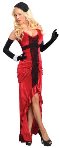 Secret Wishes 30s Jazz Singer Ruched Dress, Red/Black, Large