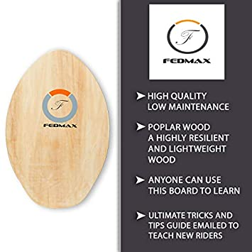 Fedmax Skimboard with High Gloss Coat Choose Size Color Wood Skim Board for Kids Adults.