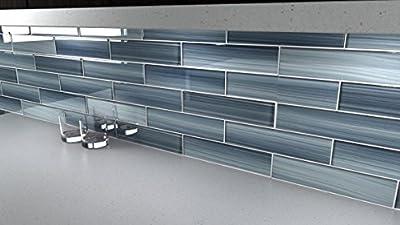 Deep Ocean Blue, Gentle Grey Glass Tile Perfect for Kitchen Backsplash or Bathroom
