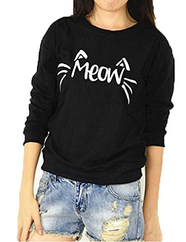 Women's O Neck Long Sleeve Cute Cat Face Meow Letter Print Sweatshirt Pullover (XL, Black)