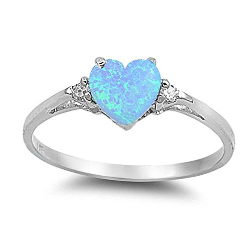 Sterling Silver Lab Created Light Blue Opal Heart Love Promise Ring Size - Promise Created Heart Diamond Ring