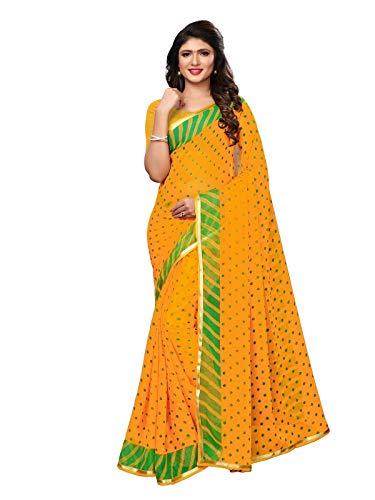 KANCHNAR Women's Yellow Green Chiffon Bandhani Printed Saree with Unstitched Blouse