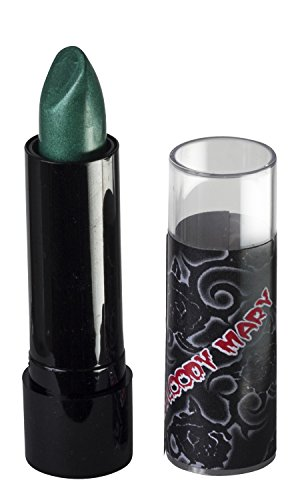 Lipstick By Bloody Mary - Professional Hollywood Makeup Quality -Creamy & Long Lasting  Fashionable Eccentric Gothic Style - Ideal For Halloween - Unique Color & Rich Pigment (Green)