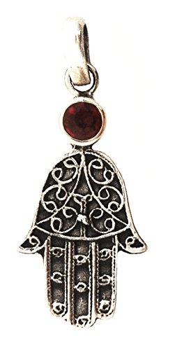 Hamsa Hand Pendant with Healing Stone Sterling Silver (Garnet) ()