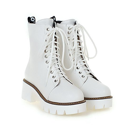 PU Closed Women's Kitten Heels Metal White Solid AgooLar Top Low Toe with Boots Round pzxqCCwB