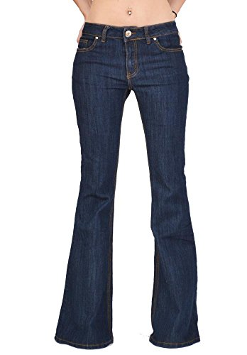 70s Style Flares Bell-Bottom Wide Flared Jeans - Dark Blue Indigo