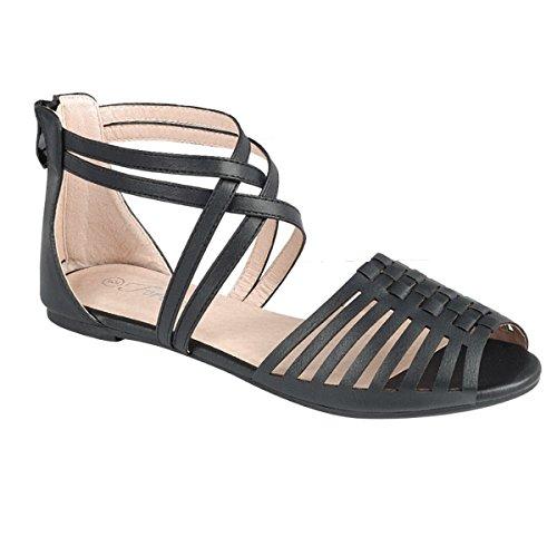 Filles Enfants Dernière Mode Mignon Confort Cheville Haute Sangle Romaine Romaine Plat Gladiateurs Sandales Noir-b