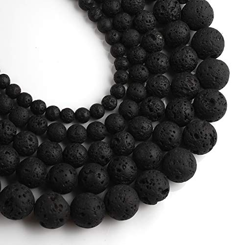 Yochus 10mm Black Volcanic Lava Loose Stone Beads Natural Stone Beads for Jewelry Making