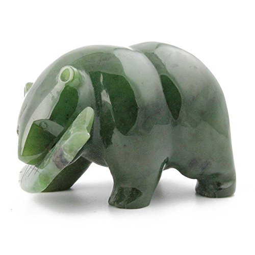 Nephrite Jade Bear with Fish Carving - 2.5 Inch