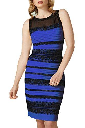 ACHICGIRL Lace Splicing Stripe Sleeveless O Neck Body-con Dress, Black&blue, Medium