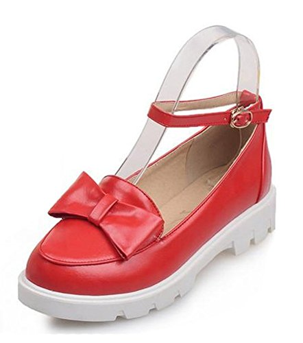 Easemax Womens Sweet Low Top Ankle Buckle Strap Round Toe Flats Shoes With Bows Red gLswKnQ5Z