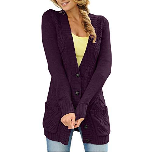 V Purple Una Sinuoso Cuello Abierto Punto De Con Para En Larga Fila Botón Mujer Sección Abrigo Sola Suéter Grande Bolsillo fgwAqx8HW