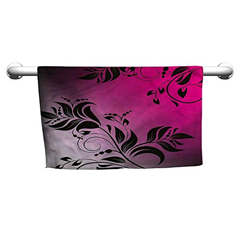 (flybeek Square Towel Floral,Victorian Branch,Towel bar for Glass Shower Door)