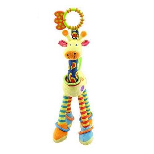 ACME - Hochet Doudous en Peluche Poussette Lit Activité Jouet d'éveil Jouet de premier pas pour bébé fille garçon souple Musique Bibi avec anneau dentition girafe