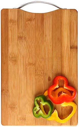 Piesome Large Non-Slip Wooden Bamboo Cutting Board with Antibacterial Surface with Premium Stainless Steel Handle,Chopping Boards,Wooden Chopping Boards for Kitchen,Vegetable Chopping Board (Brown) Price & Reviews