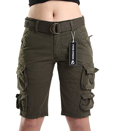Women's Cotton Loose Fit Multi-Pockets Casual Twill Bermuda Cargo Shorts with Belt Army Green US 4 ()