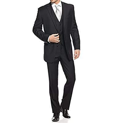 Calvin Klein Slim Fit Black Solid Wool 2 Button Flat Front New Men's Suit Set (34W x 30L)