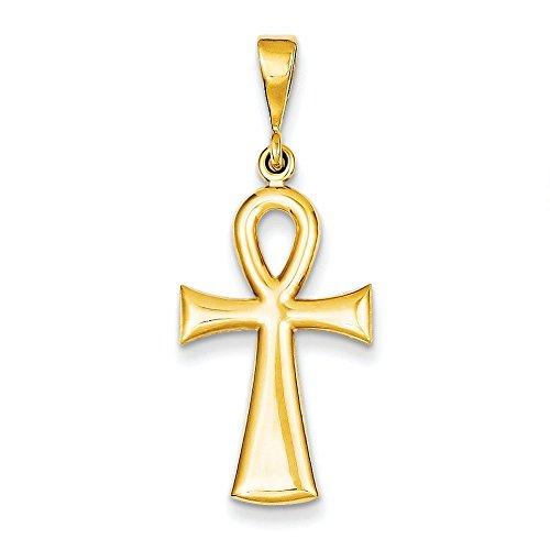 14 carats avec pendentif en forme de croix de vie égyptienne Ankh-Dimensions: 23 x 14 mm-JewelryWeb