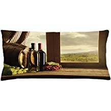 Lunarable Winery Throw Pillow Cushion Cover, Dark Clouds over Vineyard Rainy Weather View from Window of Farmhouse Scenery, Decorative Square Accent Pillow Case, 36 X 16 Inches, Green Brown Red