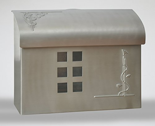 Ecco E7 Arts and Crafts Mailbox - Large Brass Wall Mount Mailbox - 6 Finishes Available - (Satin Nickle)