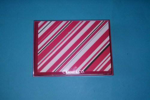 Crane & Co HN18335A Holiday Notes 10 Notes 10 Envelopes 3 15/16'' x 5 9/16'' 100% Cotton Paper Holiay Striped Made in USA by Crane & Co.