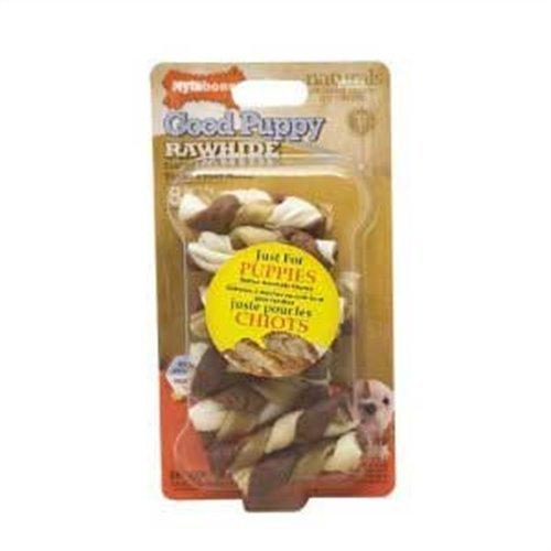 Nylabone Enhanced Rawhide Toro Braid Puppy Treats, Chicken, 8 Count, My Pet Supplies