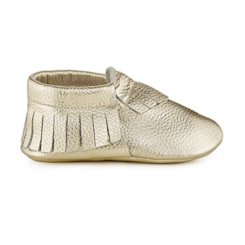 Babe Basics Baby Moccasins by Soft-soled Genuine Leather Moccasins For Babies and Toddlers (S | 6-12m | US 4-4.5, Metallic Gold)