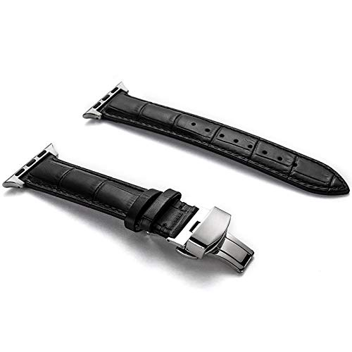 Compatible with Apple Watch Band 38mm 42mm, Genuine Leather Watch Strap for Apple Watch Band Series 4 Series 3 Series 2 Series 1, Sport/Edition Women Men (Black/Siver Clasp, 42mm/44mm) ()