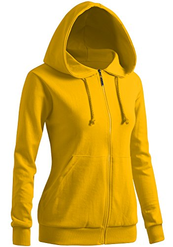 CLOVERY Women's kangaroo pocket Zipup Long Sleeve Hoodie YELLOW US M / Tag M